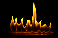 Fire flames in line Stock Photo