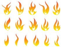 Fire flames logo symbol vector icon set design. Fire flames logo heat energy collection symbol vector icons design isolated on white background Royalty Free Stock Image