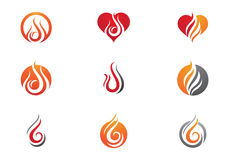 Fire flames Logo template Royalty Free Stock Images