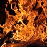 Fire and burning log. Fire flames with logs and dark background stock photos