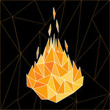 Fire flames low poly. Fire concept. Vector illustration of heat flames in modern low poly, polygonal style Royalty Free Stock Photography