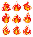 Fire Flames New Set Royalty Free Stock Image