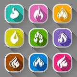 Fire flames, nine icons. Fire flames, set icons with shadow on a rounded square shape 01 Royalty Free Stock Photo