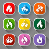 Fire flames, nine icons Stock Image