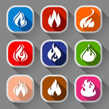 Fire flames, nine icons. Fire flames, set 9 icons with shadow on a rounded square shape 02 Stock Photos