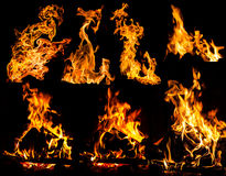 Fire Flames On Black Stock Photography