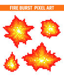 Fire flames pixel icons set. Fire burst pixel icons set. Old school computer graphic style Royalty Free Stock Photography