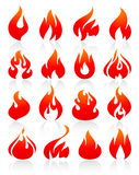 Fire flames red, set icons. Flame redish, set icons with reflection on white background, vector illustration Royalty Free Stock Photography