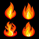 Fire flames set  on a black background. Fire symbols set on a black background, vector illustration 10eps Royalty Free Stock Photography