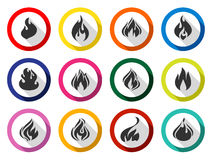 Fire flames, set buttons. With shadow in circle 02 Royalty Free Stock Photography