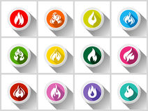 Fire flames. Set buttons with shadow in circle shape-01 Royalty Free Stock Image