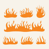 Fire Flames set. A collection of flames and fire icons and symbols Stock Image