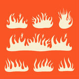 Fire Flames set. A collection of flames and fire icons and symbols Stock Photography