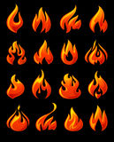 Fire flames, set 3d red icons. On a black ground Royalty Free Stock Photo