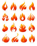Fire flames, set 3d red icons Royalty Free Stock Images