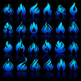 Fire flames, set icons on a black background. Fire flames, set icons with reflection on a black background Royalty Free Stock Photo