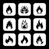 Fire flames set icons Stock Image