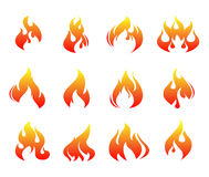 Fire flames. Fire flames, set icons,  illustration Stock Photos