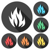 Fire flames, set icons with long shadow. Vector icon Stock Photo