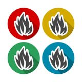 Fire flames, set icons with long shadow. Vector icon Stock Photography