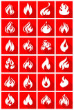 Fire flames. Set 24 icons with shadow on a square shape Royalty Free Stock Photos