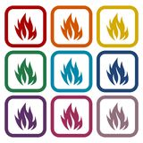 Fire flames, set icons. Vector icon Royalty Free Stock Photos