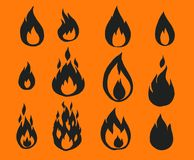 Fire flames,. Set of icons, vector illustration Stock Photo