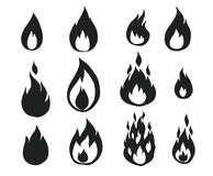 Fire flames,. Set of icons, vector illustration Stock Images