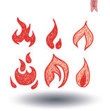 Fire flames, set icons, vector illustration. Royalty Free Stock Photo