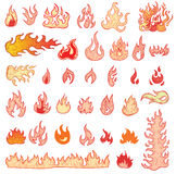 Fire flames, set icons, vector illustration. Fire flames, set icons, vector illustration Royalty Free Stock Images