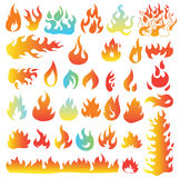 Fire flames, set icons, vector illustration. Royalty Free Stock Photography