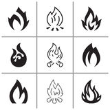 Fire flames, set icons, vector illustration. Fire flames signs and icons set, vector illustration Royalty Free Stock Images