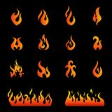 Fire flames, set icons Royalty Free Stock Photography
