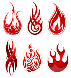 Fire flames set. Set of six artistic fire flame shapes as design elements Stock Image