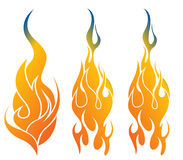 Fire flames  set Royalty Free Stock Image