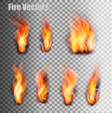 Fire flames set. Vector. Stock Photography