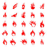 Fire flames silhouette set. On white background Royalty Free Stock Photos