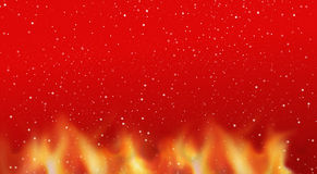 Fire flames snowflakes hot red background. Illustration graphic Royalty Free Stock Photos