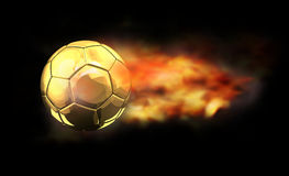 Fire flames soccer football ball 3d. Rendering Royalty Free Stock Image