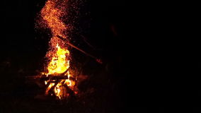 Fire Flames with Sparks from Campfire stock footage