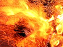 The fire flames. Fire flames with sparks. Fire background stock image