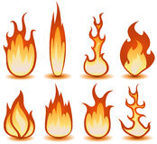 Fire And Flames Symbols Set. Illustration of a set of cartoon fire elements and flames shapes burning Stock Photos