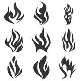 Fire flames tattoo set. Flat design,  illustration Royalty Free Stock Photography