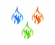 Fire flames. Three vector illustrations of a flame, a blue, red, and green one Stock Photo