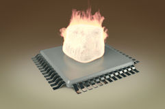 Fire flames on top of cpu. 3d render of a fire flames on top of cpu Stock Images