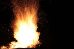 Fire flames track on a black background Royalty Free Stock Photo