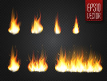 Fire flames  on transparent background. Vector realistic special effect. Fire flames  on transparent background. Realistic special effect. Vector illustration Stock Images