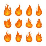 Fire flames vector set isolated on black background royalty free illustration