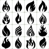 Fire Flames Vector Icons Set Stock Photography