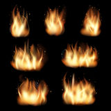 Fire flames vector set on black background. Fire flames set on black background. Burn heat, flame and wildfire, energy vector illustration Stock Photography